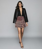Reiss Izarra - Patchwork Printed Mini Skirt in Red