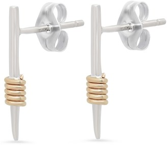 Elliot Young Fine Jewelry 14K White Gold Wrap Me Up Dagger Stud Earrings With Yellow Gold Wraps