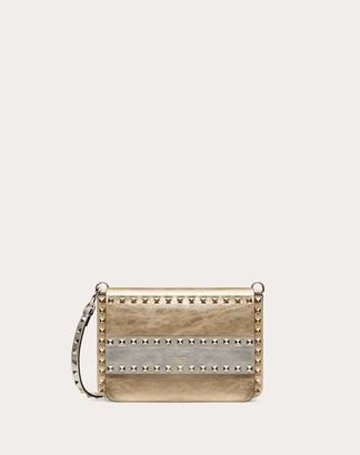 Valentino Small Rockstud Crossbody Bag In Metallic Craquelure-effect Calfskin Women Dark Gold Calfskin 100% OneSize