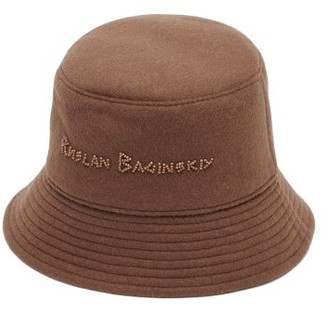 Ruslan Baginskiy Beaded-logo Felted-wool Bucket Hat - Brown
