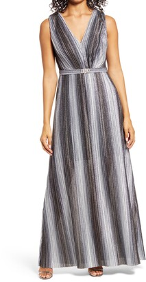 Vince Camuto Metallic Stripe Sleeveless V-Neck Gown
