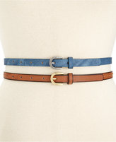 Style&Co. Style & Co Denim and Stitched 2-for-1 Skinny Belts, Only at Macy's