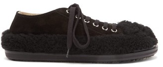 Marni Shearling-trimmed Suede Trainers - Womens - Black