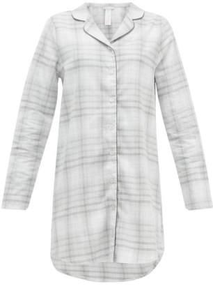 Hanro Edda Checked Cotton Nightdress - Womens - Grey Multi