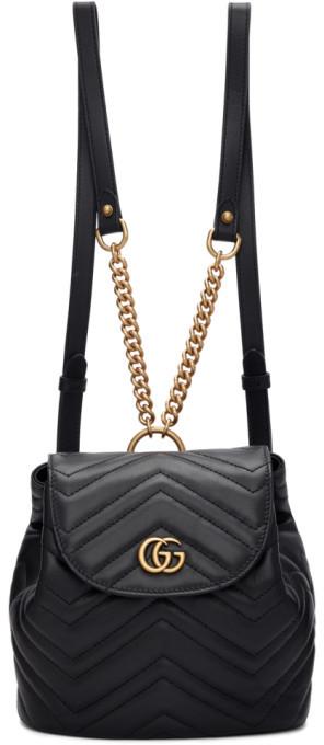 Gucci Black Mini GG Marmont 2.0 Backpack