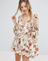 Free People Just The Two Of Us Printed Long Sleeved Dress