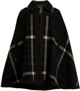 Burberry Point-collar checked wool-blend cape