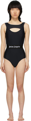 Palm Angels Black Cut-Out Logo One-Piece Swimsuit