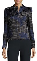 Giorgio Armani Bow-Neck Satin-Trim Tweed Jacket, Navy