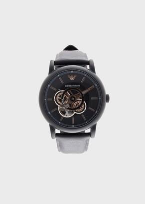 Emporio Armani Men'S Automatic Leather Watch