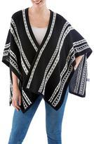 Black Alpaca Wool Ruana Wrap with Geometric Motifs on White, 'Peruvian Harmony'