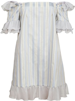 Jiri Kalfar Light Blue & Creme Stripe Mini Dress