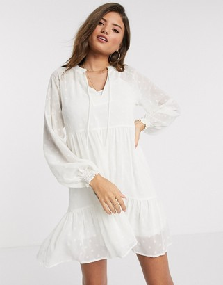 Stradivarius smock mini dress in white