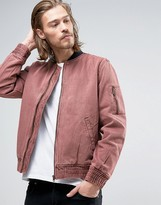 Asos Bomber Jacket In Washed Burgundy Denim