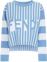 Fendi Multi-Stripe Logo Sweater, Blue, IT 38