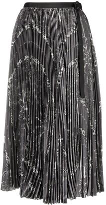 Sacai Abstract Print Pleated Skirt