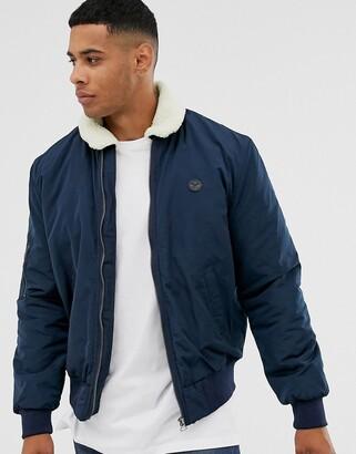 Le Breve fleece collar aviator jacket