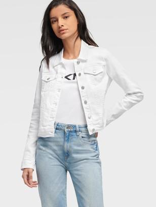 DKNY Women's Side Lacing Detail Denim Jacket - White - Size XL