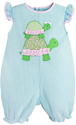 Petit Ami Girls' Rompers TURQUOISE - Turquoise Turtles French Bubble Romper - Infant