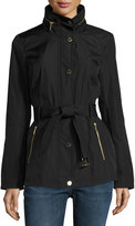 MICHAEL Michael Kors Belted Snap-Front Jacket, Black
