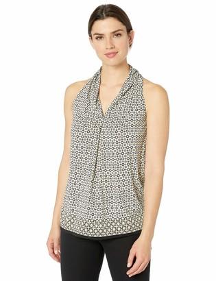 Max Studio Women's Sleevless Printed Matte Jersey v Neck top