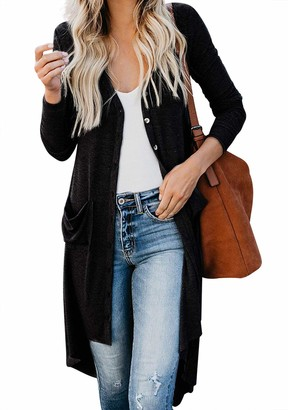 Eledobby Irregular Womens Knit Cardigans Button Down with Pockets Long Sleeve Blouses Ladies Fashion Long Sweater Stylish Casual Lounge Wear Autumn Clothes Black XL