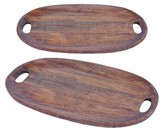 A&B Home Set of 2 Oval Wooden Trays