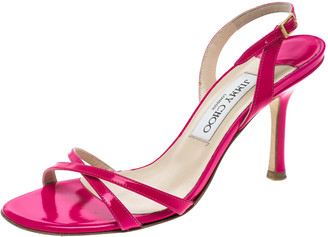 Jimmy Choo Neon Pink Leather Slingback Sandals Size 37.5