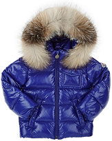 Moncler Fur-Trimmed Hooded Tech-Taffeta Coat-BLUE
