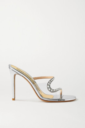 Alexandre Vauthier Ava Crystal-embellished Metallic Leather And Pvc Sandals - Silver