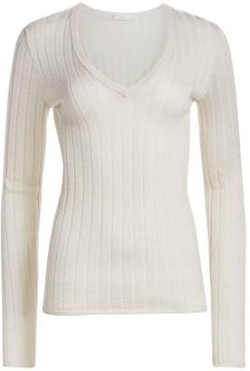Brunello Cucinelli Sparkle V-Neck Rib-Knit Sweater
