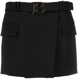 Balmain belted 'B' mini skirt