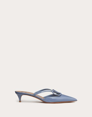 Valentino Vlogo Signature Patent Leather Mule 40mm / 1.6 In. Women Azure Polyester 74%, Elastane 26% 39