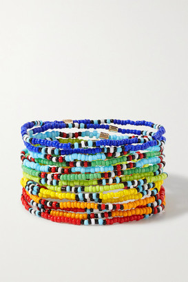 Roxanne Assoulin New Patchwork Set Of 12 Beaded Bracelets - Red