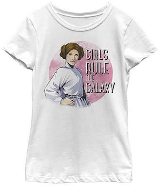 Fifth Sun Star Wars Princess Leia Girls Rule The Galaxy Girls Crew Neck Short Sleeve Star Wars Graphic T-Shirt - Preschool / Big Kid Slim
