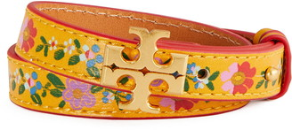Tory Burch Kira Floral Leather Double Wrap Bracelet