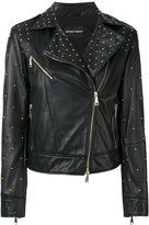 Emporio Armani studded leather jacket - women - Lamb Skin/Polyester/Spandex/Elastane - 40