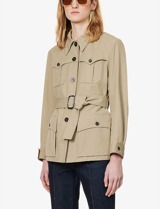 Chloé Belted collared stretch-cotton jacket