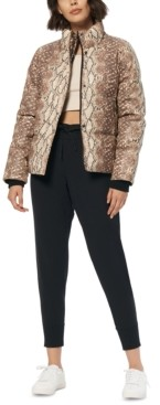 Andrew Marc Snakeskin Print Faux-Leather Puffer Coat