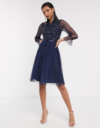 Frock and Frill mesh long sleeve high neck skater dress-Navy