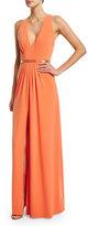 Halston Sleeveless V-Neck Belted Gown, Mandarin