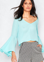 Missy Empire Malika Mint Bell Sleeve Cut Out Back Blouse