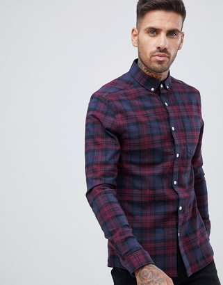 Asos DESIGN skinny check shirt in navy & burgundy