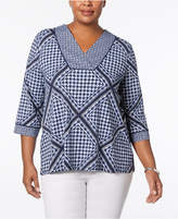 Charter Club Plus Size Scarf-Print Top, Created for Macy's