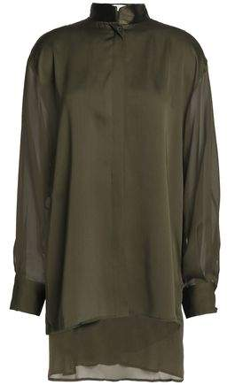 Amanda Wakeley Satin-Trimmed Silk-Crepe Blouse