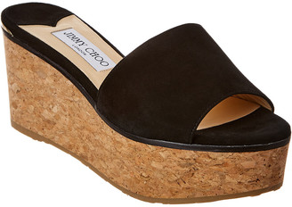 Jimmy Choo Deedee 80 Suede Platform Wedge Sandal