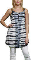 Black Tie-Dye Stripe Sleeveless Tunic