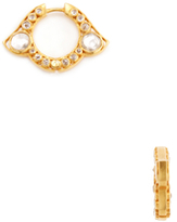 Amrapali 18K Yellow Gold, Silver & 1.12 Total Ct. Diamond Hoop Earrings