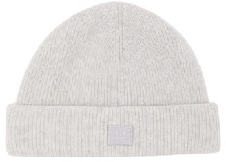 Acne Studios Kansy Face Ribbed Wool-blend Beanie - Mens - Grey