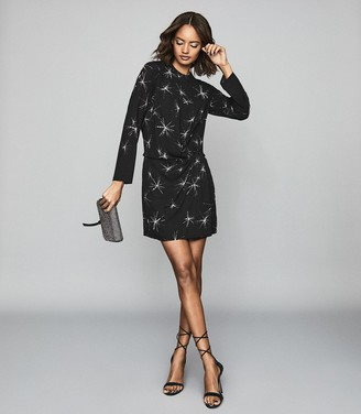 Reiss GABBY STAR EMBELLISHED MINI DRESS Black